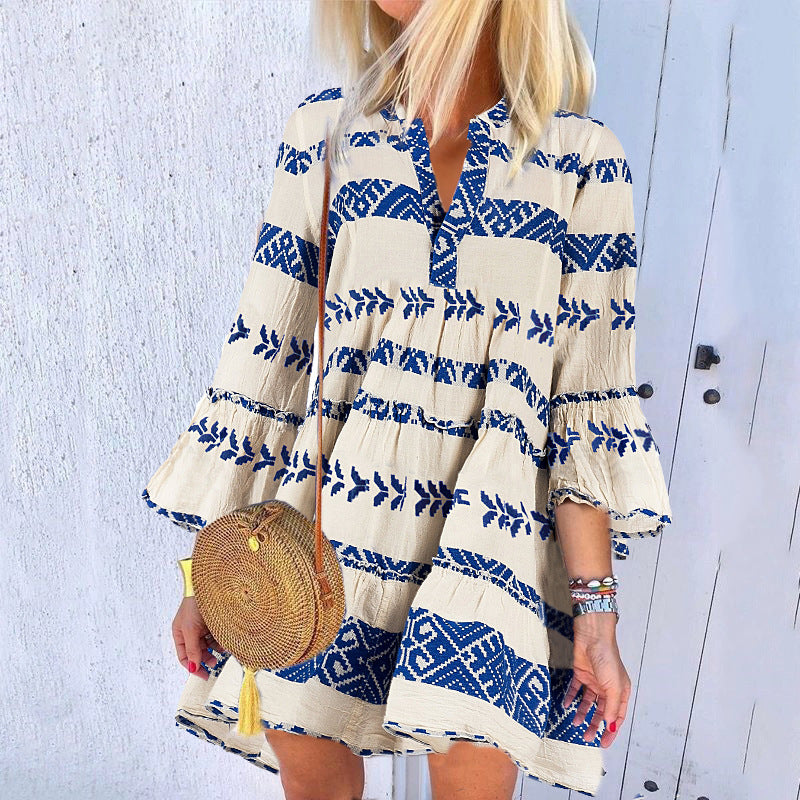 Fashion V-Neck Print Long Sleeve Mini Dress