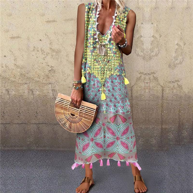 Bohemia Print Sleeveless Long Dress