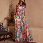 Bohemian Print V-Neck Ruffles Maxi Dress