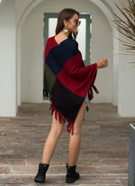 Plaid Patchwork Knitted V Neck Cloak Sweater