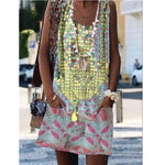 Vintage O-Neck Printed Dress Loose Beach Dress Casual Sleeveless Boho Mini Dress