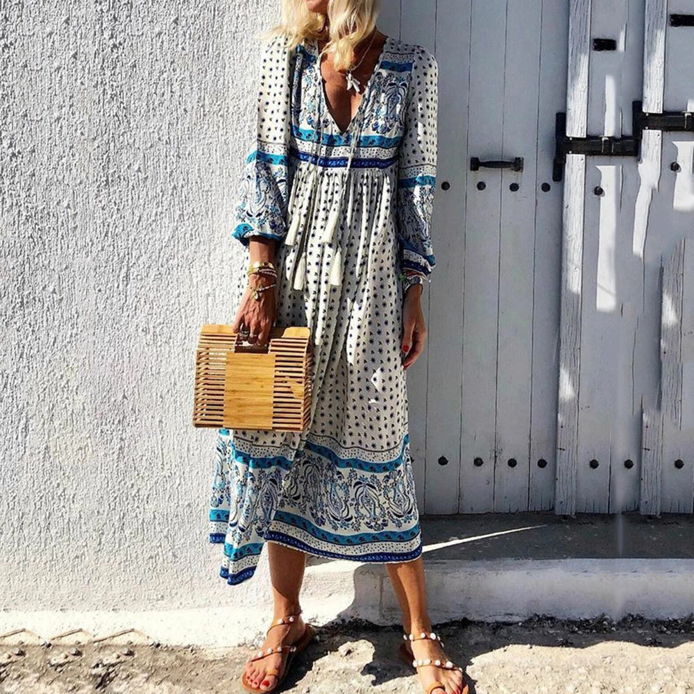 Bohemian Long Sleeve V-neck Print Maxi Dresses