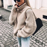 Autumn Winter Fashion Women Solid Turtleneck Sweater Casual Long Sleeve Knitted Sweater