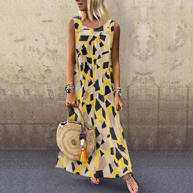 Casual Sleeveless Print Line Maxi Dress