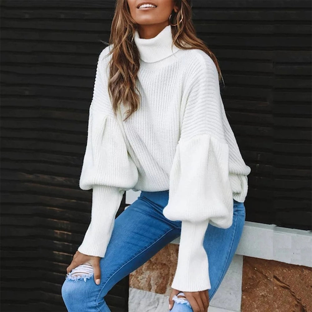 Autumn Casual Loose Turtleneck Knitted Jumpers Long Sleeve Pullovers Streetwear