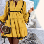 Casual V-Neck Tassel Aline Mini Dress