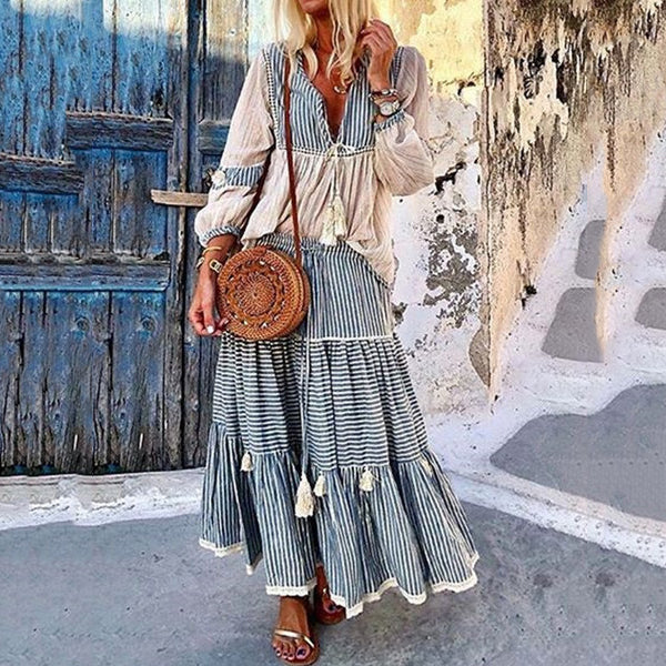 Bohemian Patchwork Long Sleeve Plus Size Maxi Dress
