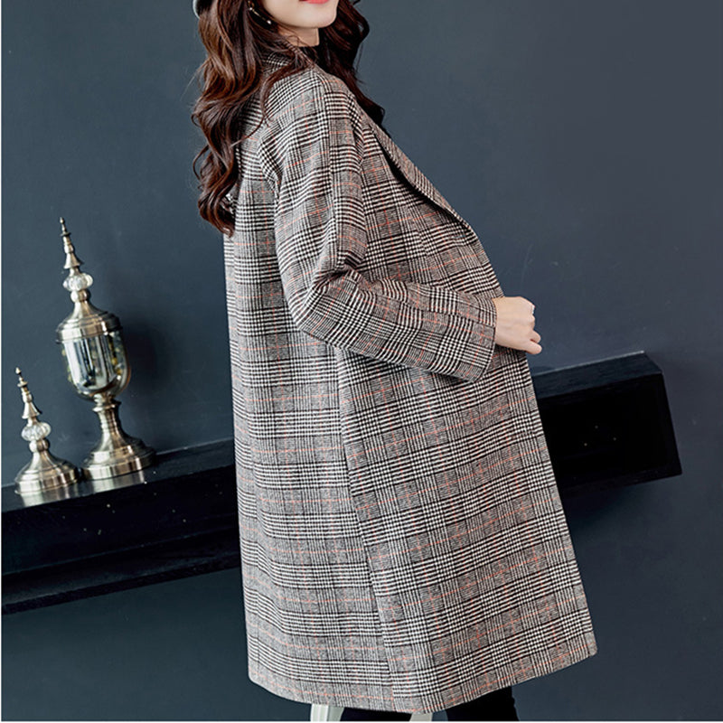 Women Plaid Wool Coat Women Loose Long Single Breasted Woolen Coat Winter Coat Woolen Overcoat