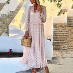 Tow Piece Polka Dot Long Sleeve V-Neck Maxi Dress