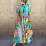 2019 New In Short Sleeve Round Print Maxi Dress