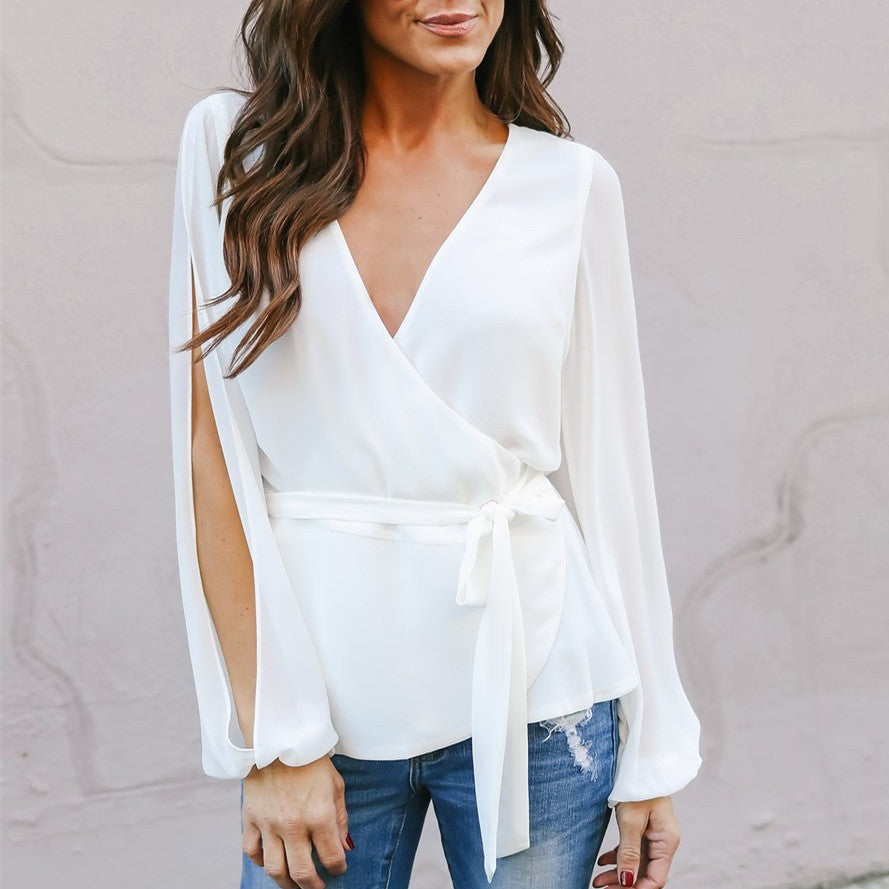 Spring V-neck Off Shoulder Chiffon Shirt  Solid Loose Blouse
