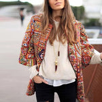 Fall Winter Loose 3/4 Quarter Sleeve Sweater Folk-Custom Plus Size Cardigans Casual Pleated Floral Print Sweater
