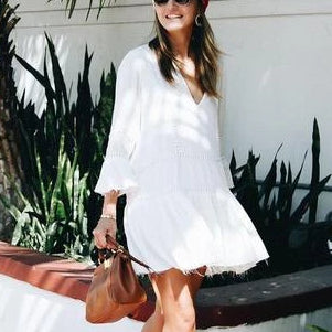 Casual V-Neck Cotton White Mini Dresses
