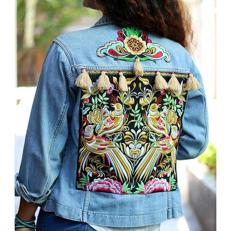 Spring Fall Women Ethnic Embroidery Denim Jackets Back Tassel Denim Coat Casual Short Loose Jeans Jackets