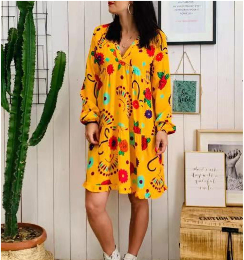 Bohemian V-Neck Long Sleeve Print Plus Size Dress