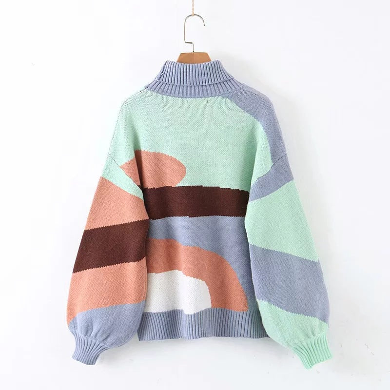 Rainbow turtleneck sweaters women winter jumpers knitted pullover