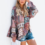 Bohemian Patchwork Long Sleeve V Neck Tops