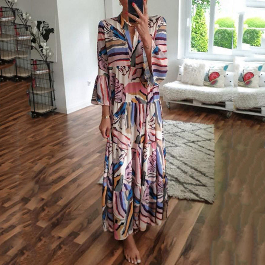 Bohemian Flare Sleeve V-Neck Print Maxi Dress