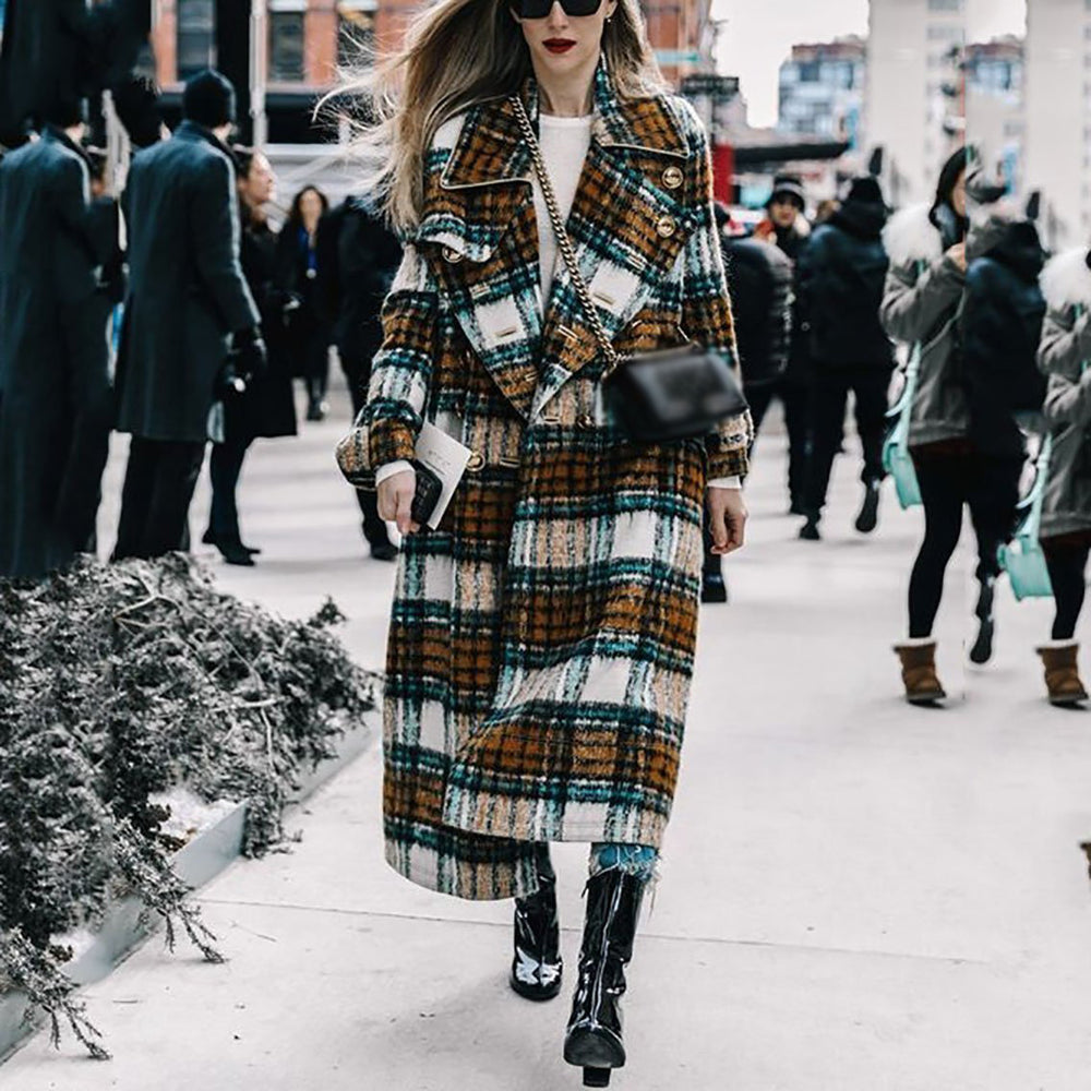 Newest Woman Autumn Plaid Long Coat British Fashion Turn-down Collar Long Sleeve Loose Plus Size XXL Trench Coats