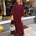 Solid Long Sleeve Women Dress Lantern Sleeve Boho Maxi Dresses Autumn Party Vestido