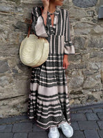 Summer Line Stripe Print Plus Size Maxi Dresses