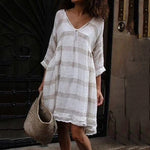 Cotton Linen Dress Long Sleeve Summer Striped Plus Size Maxi Dresses