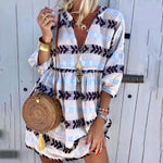 Floral V Neck Half Sleeves Boho Casual Dresses