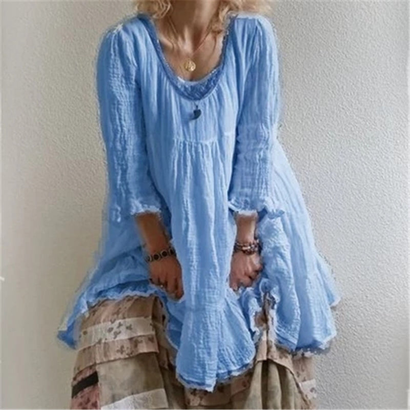 2019 Fashion Women Round Flare Sleeve Mid Dress Loose 3/4-Length Sleeve Summer Dress Casual Solid Ruffles Dress