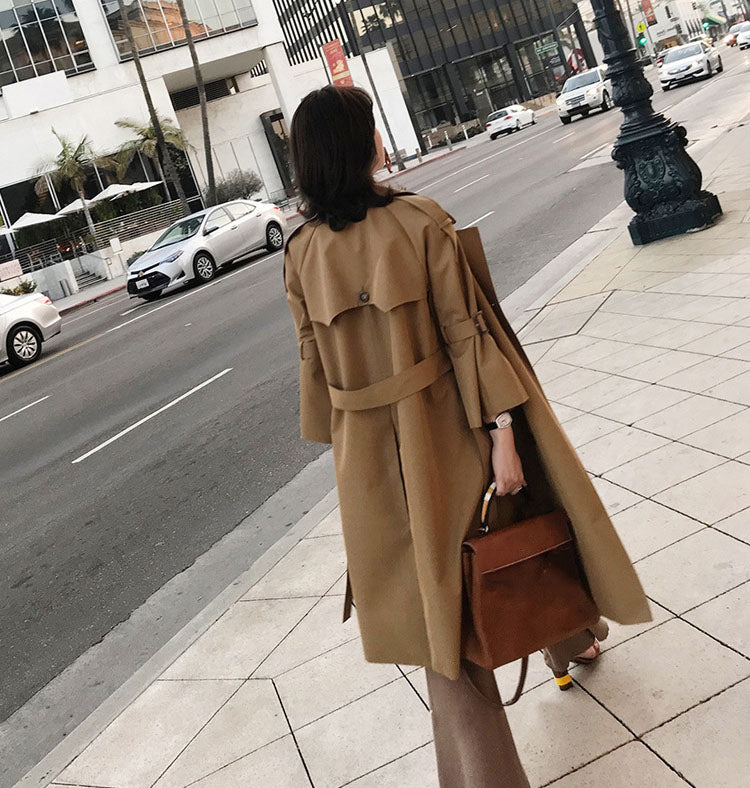 Autumn Winter Women Fashion Casual Long Sleeve Double Breasted Turn-down Collar Ladies Long Windbreaker Trench Coat Jacket