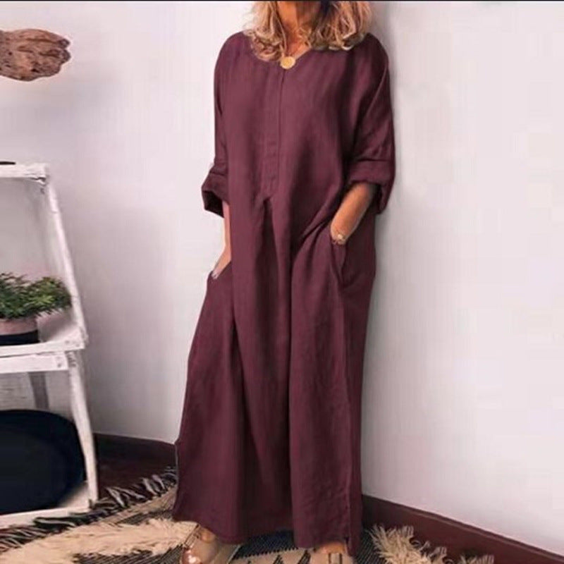 Casual Line Long Sleeve V-Neck Maxi Dress