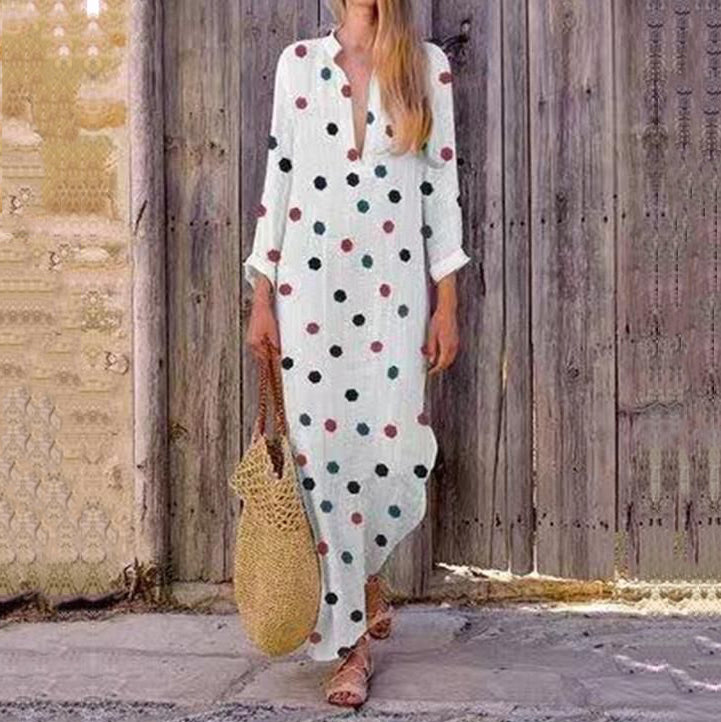 Print Long Sleeve Line Maxi Dresses