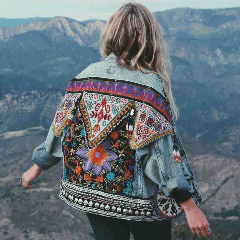 Women Floral Embroidered Denim Jacket Long Sleeve Casual Chic Jacket Coat Jeans Fashion Coat