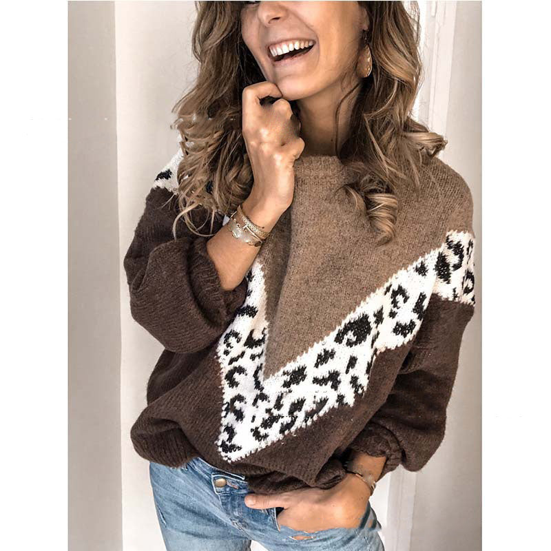 2019 Fall Winter Women Leopard Patchwork Sweaters Pullovers Loose Top Sweaters O Neck Long Sleeve Jumpers Sweaters