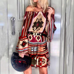 Bohemian Off Shoulder Long Sleeve Print Mini Dress
