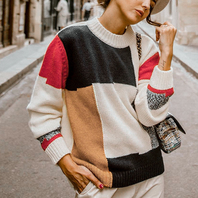 Women Autumn Winter Sweater Fashion Multicolor Block O Neck Pullover Female Causal Long Sleeve Knit Tops Mujer Jumpers