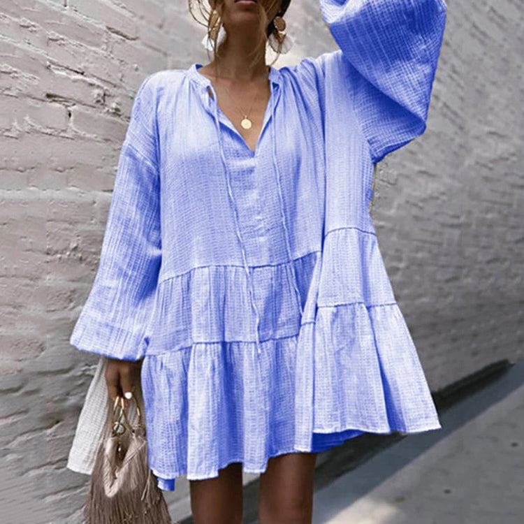 Casual V-Neck Ruffles Mini Dresses