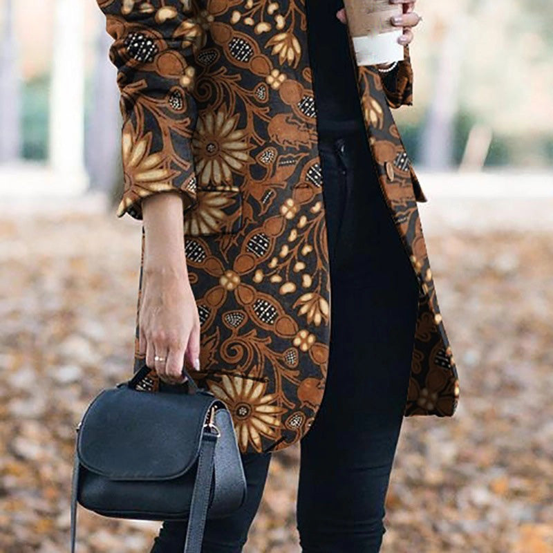 2019 Fall Winter Retro Floral Print Blazer Coat Fashion Button Jacket Blazer Female Plus Size Office Long Coat