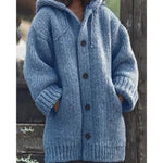 Winter Sweater Long Sweater Coat Women Solid Color Single-Breasted Knitted Sweater Hooded Cardigan
