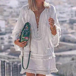 Vacation Casual White Mini Dress