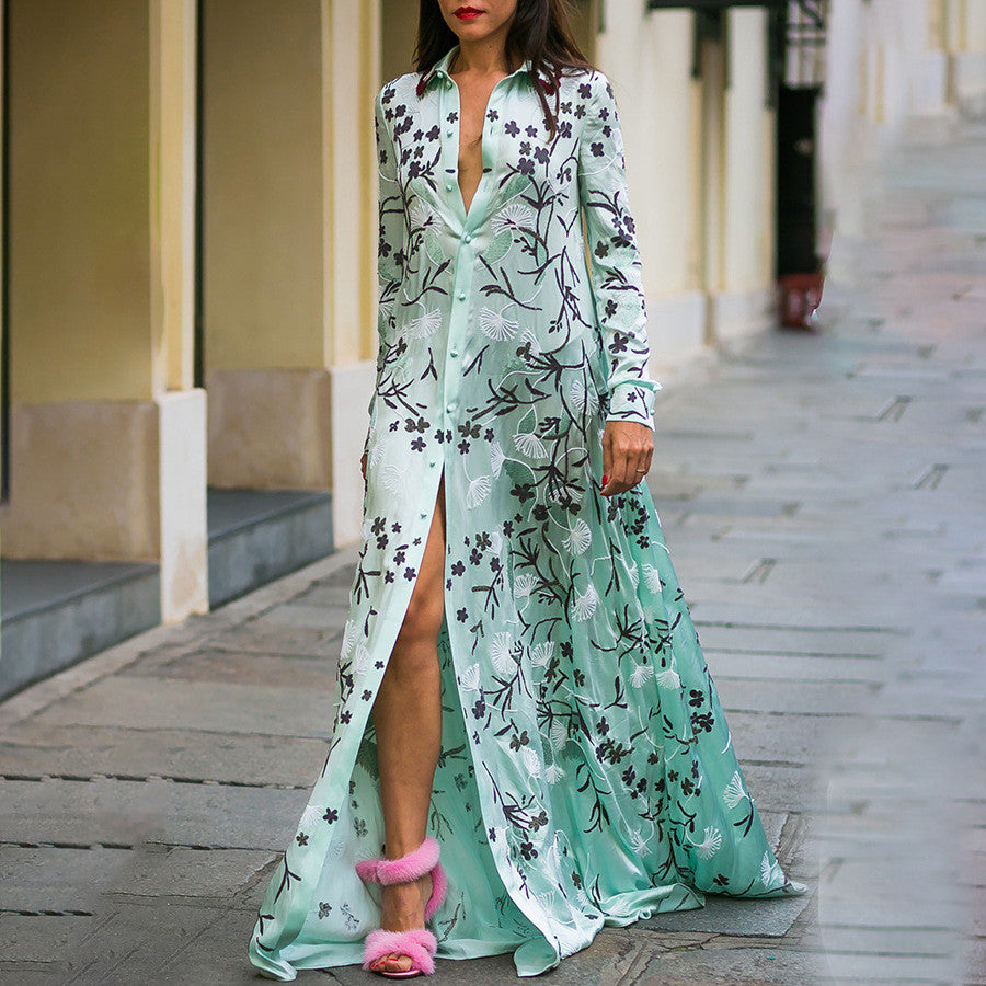 Bohemia Print Dress Maxi Dress Long Sleeve Shirt Dress Lace Spliced Loose Dresses