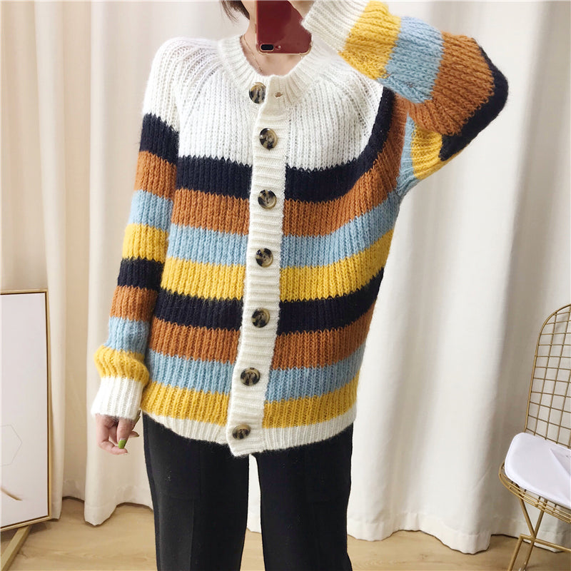 2019 Autumn Winter Oversized Striped Cardigan Women Knitted Sweater