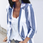 Women's Blazers   Autumn Winter Women's Jacket Korean Fashion Striped Blazer Casual Long Sleeve Blazer Feminino Coats