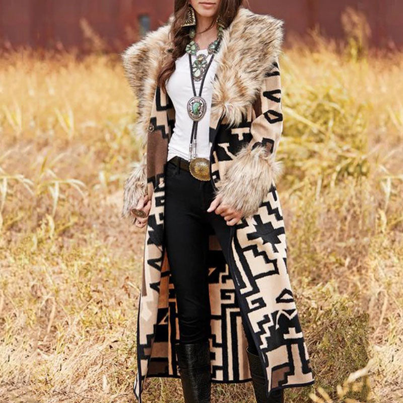 Fall Vintage Long Sleeve Oversize Coats Warm Geometry Print Long Wool Blends Overcoat Fur Collar Casual Padded Jacket