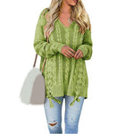 Sexy V-neck Lace Up Knitted Sweaters Long Sleeve Solid Loose Sweater Autumn Casual Jumper Pullover