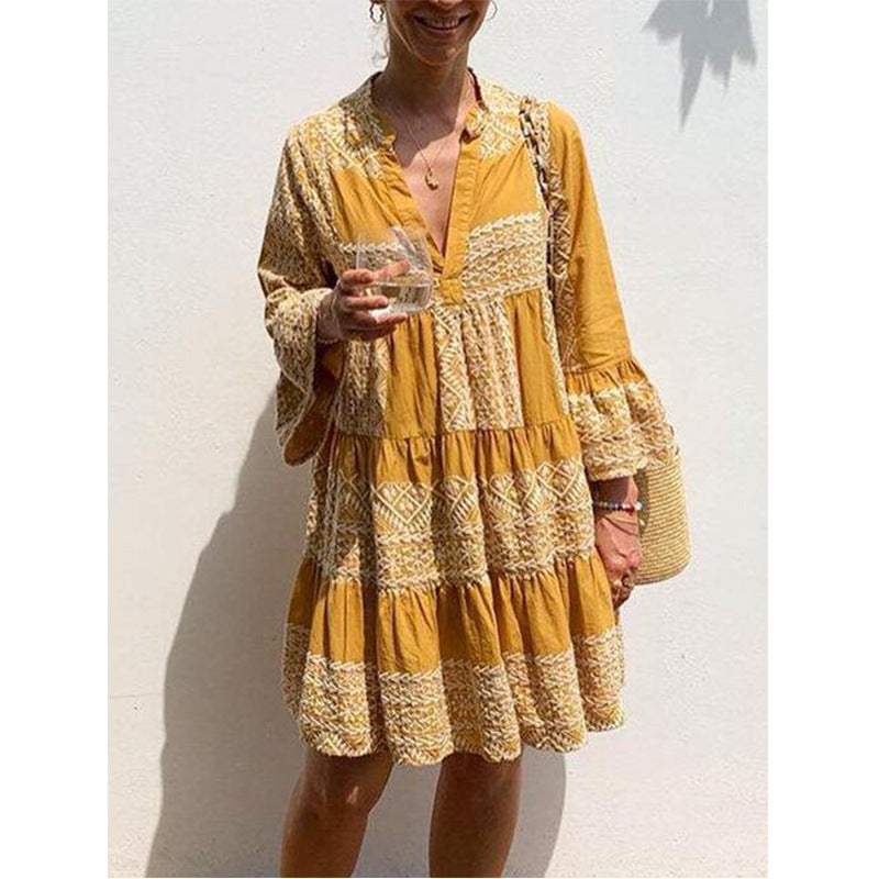 Bohemian Dress Women Mini Dress Robe Female Long Sleeve Casual Loose Pleated Shirt Vestido