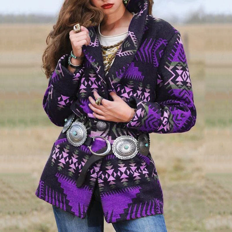 Women Retro Button Loose Oversize Jacket Coats Warm Long Sleeves Vintage Jacket Slim Geometry Print Coat Outwear