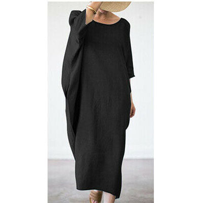 Cotton Line Long Sleeve Solid Maxi Dress
