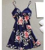 Floral Print Thin Sleepshirts Summer Spaghetti Strap Sleeveless Slim Mini Nightgowns