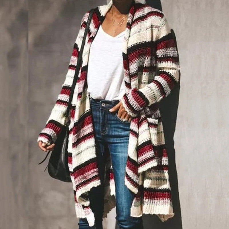 Striped Cardigan Women Sweater Long Sleeve Button V Neck Casual Knitted Cardigans Mujer 2019 Spring Autumn Female Coat Kardigan