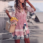 Bohemian Print V-Neck Tassel Dress